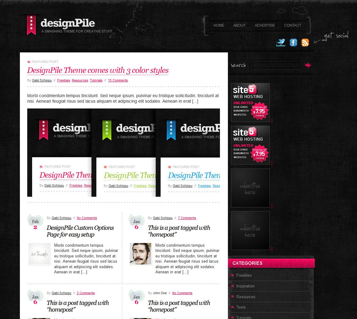 designPile tema wordpress gratuito
