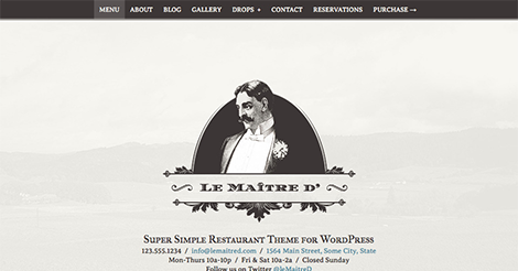 Le Maitre d': Super Simple Restaurant WP Theme