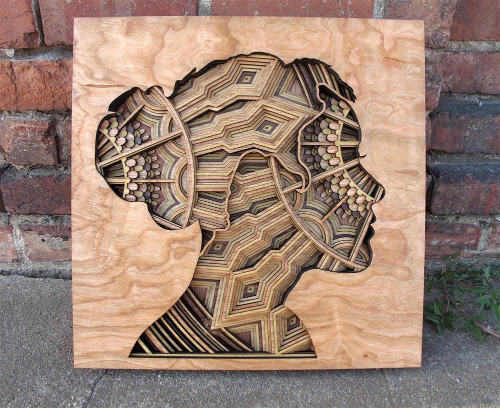 Sculture di legno 3D intagliate con il laser di Gabriel Shama