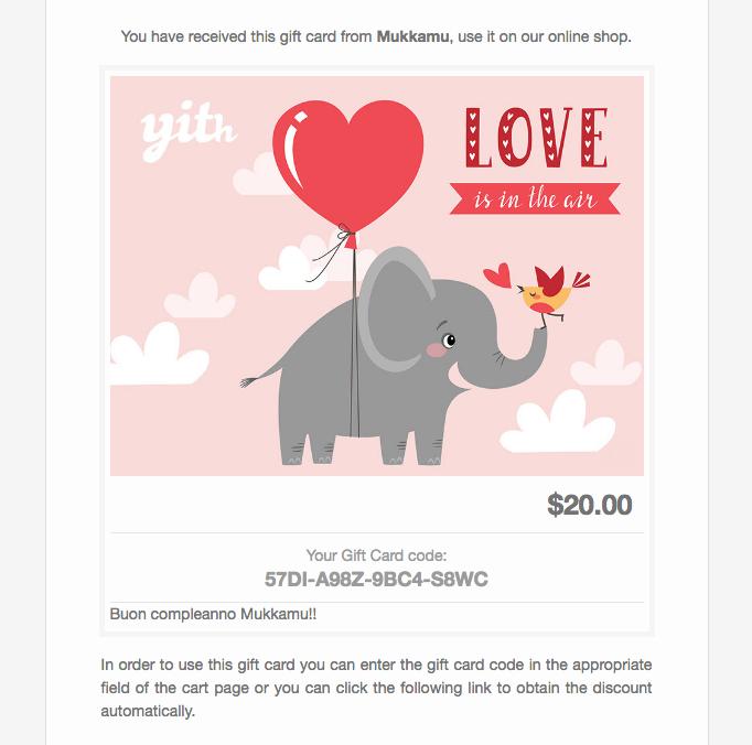 Vendere buoni regalo - esempio di email contenente un buono regalo