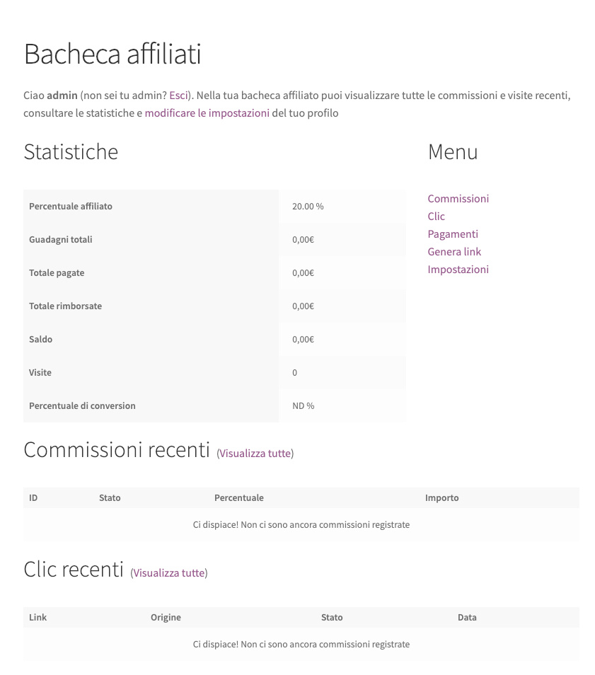 YITH WooCommerce Affiliates bacheca