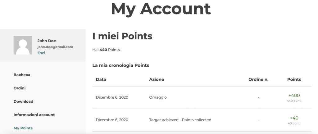 my account sezione punti